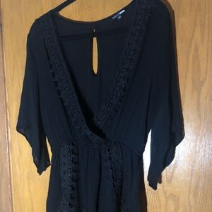 3/4 Sleeve Length Black Romper with Lace Detail